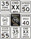 Colección de muestras del límite de velocidad usadas en los E.E.U.U. stock de ilustración