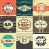 Colección de muestras retras de la gasolina Imágenes de archivo libres de regalías