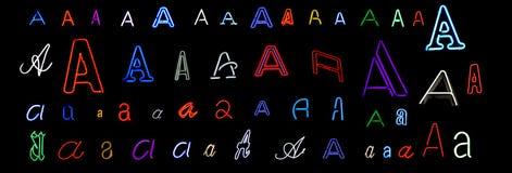 Colección de neón de la letra A Imagen de archivo libre de regalías