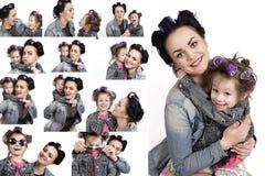 Colección de niña de las fotos y de su madre en bigudíes de pelo Fotografía de archivo libre de regalías