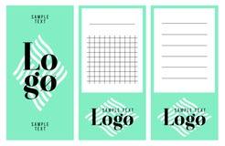 Colección de notas del logotipo y del texto de la muestra Foto de archivo