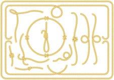Colección de nudos, de esquinas y de bastidores de la cuerda Foto de archivo libre de regalías