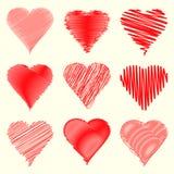 Colección de nueve diversa formas del corazón especialmente para el día de tarjetas del día de San Valentín Imágenes de archivo libres de regalías