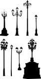 Colección de ocho lámparas de calle Fotografía de archivo