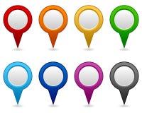 GPS e iconos en blanco de la navegación Imagenes de archivo