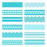 Colección de ondas marinas Diseño del agua del arte del mar ondulado, océano Fotos de archivo