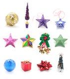 Colección de ornamentos de la Navidad Imagen de archivo