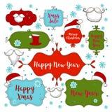 Colección de ornamentos de la Navidad y elementos, marcos del vintage, etiquetas, etiquetas engomadas y cintas decorativos ilustración del vector
