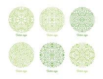 Colección de ornamentos orientales circulares curvados dibujados con las líneas de contorno verdes en el fondo blanco Paquete de  Fotografía de archivo libre de regalías