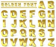 Colección de oro de la fuente 3d rinden la ilustración Imágenes de archivo libres de regalías