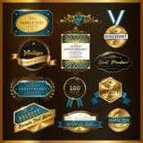 Colección de oro de las etiquetas de la calidad superior magnífica stock de ilustración