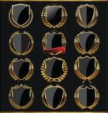 Colección de oro del escudo de la calidad Fotografía de archivo libre de regalías