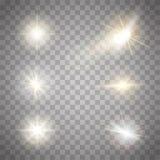 Colección de oro de las chispas de las luces El ejemplo del vector de la lente que brilla intensamente señala por medio de luces, ilustración del vector