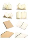 Colección de páginas en blanco del cuaderno abierto en blanco Fotos de archivo libres de regalías