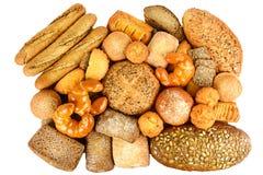 Colección de pan y de hornada del grano aislada en blanco Imágenes de archivo libres de regalías