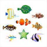 Colección de peces de mar lindos Ilustración del vector stock de ilustración