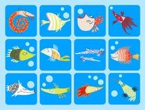 Colección de pescados de la historieta Fotografía de archivo