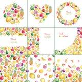 Colección de plantillas con las frutas elegantes brillantes dibujadas mano Fotografía de archivo libre de regalías