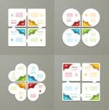 Colección de plantillas de Infographic para el negocio Cuatro pasos que completan un ciclo diagramas Ilustración del vector Foto de archivo