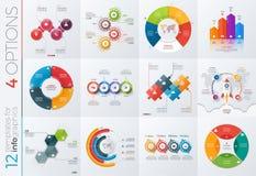 Colección de 12 plantillas del vector para el infographics con 4 opciones stock de ilustración
