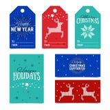 Colección de plantillas hechas punto de la tarjeta de Navidad Etiquetas coloridas del presente del Año Nuevo hechas en vector Tar Fotografía de archivo
