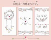 Colección de 3 plantillas lindas de la tarjeta Imágenes de archivo libres de regalías
