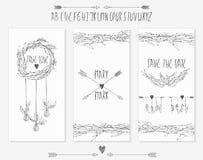 Colección de 3 plantillas lindas de la tarjeta Foto de archivo libre de regalías