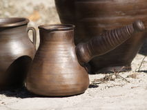 Colección de platos antiguos de la arcilla Imagen de archivo libre de regalías