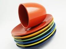 Colección de platos coloridos imagen de archivo libre de regalías