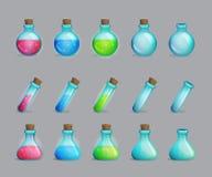 Colección de pociones mágicas y de botellas para ellas Imagen de archivo libre de regalías