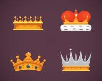 Colección de premios de los iconos de la corona para los ganadores, campeones, dirección Rey real, reina, coronas de la princesa Fotografía de archivo libre de regalías