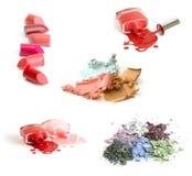 Colección de productos de maquillaje en el fondo blanco Imagen de archivo