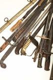 Colección de puños de espadas y de dagas viejas fotos de archivo libres de regalías