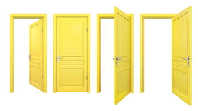 Colección de puertas amarillas, aislada en blanco Fotos de archivo libres de regalías