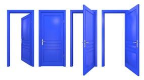 Colección de puertas azules aisladas Foto de archivo