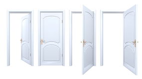 Colección de puertas blancas aisladas del arco Fotografía de archivo