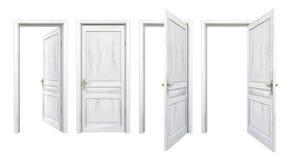 Colección de puertas de madera viejas aisladas en blanco Foto de archivo
