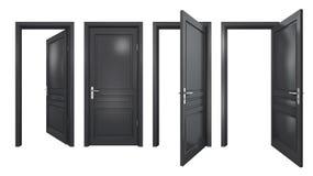 Colección de puertas negras aisladas Fotos de archivo libres de regalías