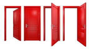 Colección de puertas rojas en blanco Imágenes de archivo libres de regalías