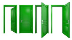 Colección de puertas verdes Fotografía de archivo