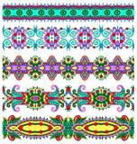 Colección de rayas florales ornamentales inconsútiles Imagen de archivo