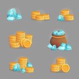 Colección de riquezas y de piedras preciosas de oro libre illustration
