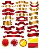 Colección de rojo y de cintas del oro Fotografía de archivo libre de regalías