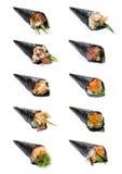 Colección de rollo japonés Temaki de la mano Fotos de archivo libres de regalías