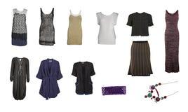 Colección de ropa y de accesorios hechos punto Imágenes de archivo libres de regalías