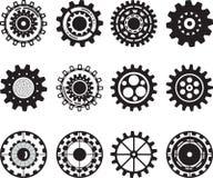 Colección de ruedas de engranaje aisladas en blanco Fotos de archivo libres de regalías