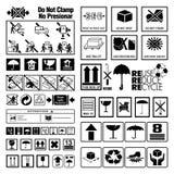 Colección de símbolos de la advertencia y de la instrucción Fotografía de archivo libre de regalías