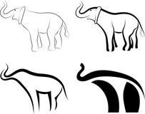Colección de símbolos de los elefantes Imágenes de archivo libres de regalías