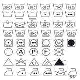 Colección de símbolos para la ropa que se lava Fotos de archivo libres de regalías