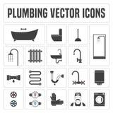 Colección de símbolos y de iconos de la fontanería del vector Foto de archivo